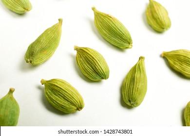 cradamom isolated on white background, macro images of cardamom.