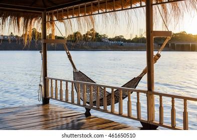cradle in floating Home at kanjanaburi.Thailand