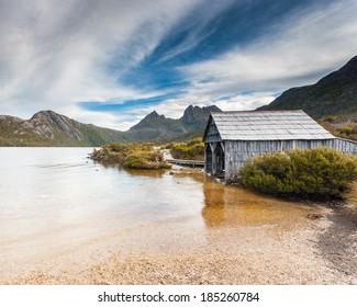 Cradle Mountain and Dove Lake in Lake St Clair National Park, Tasmania, Australia