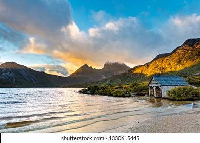 Cradle Mountain, Tasmania.  Dove Lake with boat house, at sunrise.