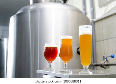 Craft beer brewery, three types of beer in glass ; IPA, red IPA and wheat beer