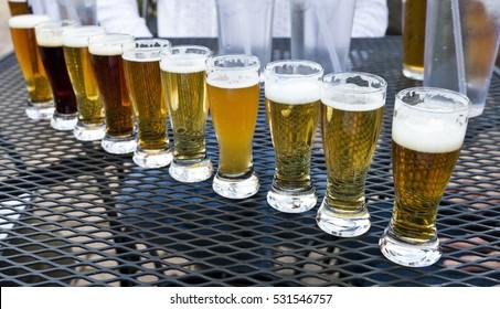Craft beer flight sampler. Horizontal.