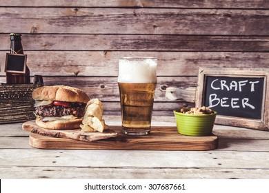 Craft Beer With Hamburger