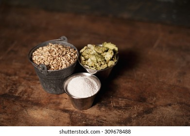 Craft Beer Ingredients Malt Barley and Hops
