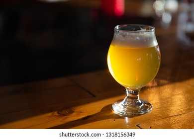 Craft Beer on a Bar with copy space