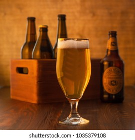 Craft beer on wooden table