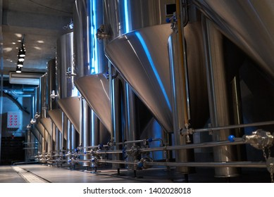Craft beer production in private brewery. Beer Preparation Brewery Equipment, close-up.