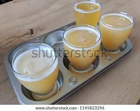 Craft Beer Tasting Flight Samples Stock Photo Edit Now 1145823296