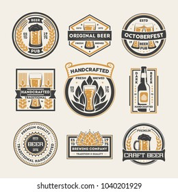 Craft beer vintage isolated label set illustration. Premium quality product sign, beer pub badge collection