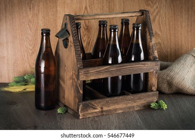 Craft beer from a wooden box