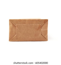 Craft brown paper pack for tea or coffee isolated over white background
