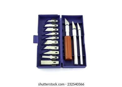 Craft cutter set on white background