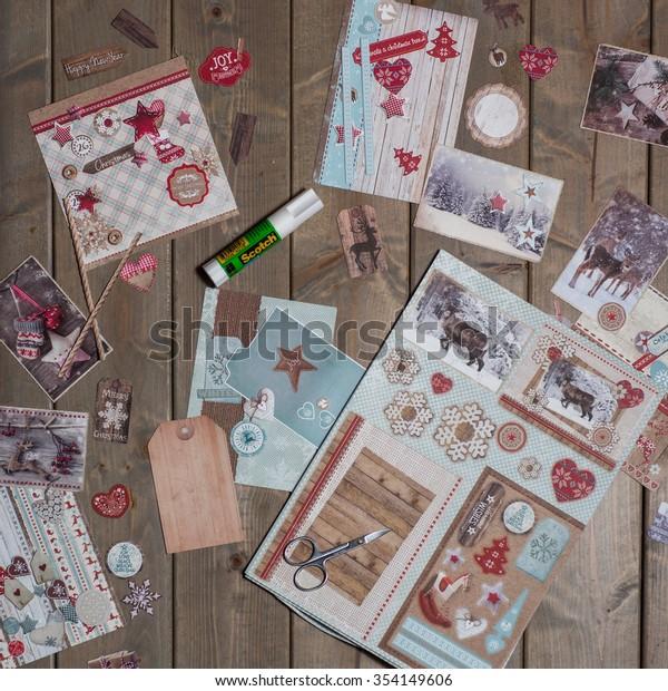 Craft Handmade New Year Christmas Greeting Stock Photo Edit