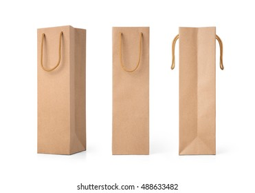 Craft paper bag front and side view isolated on white background. Packaging template mockup collection.