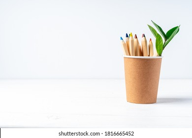 Craft paper coffee cup, pencils, green leaves sprout and recycled stationery. School Zero waste, eco friendly, natural organic plastic free concept. Earth, biodegradable with copy space.