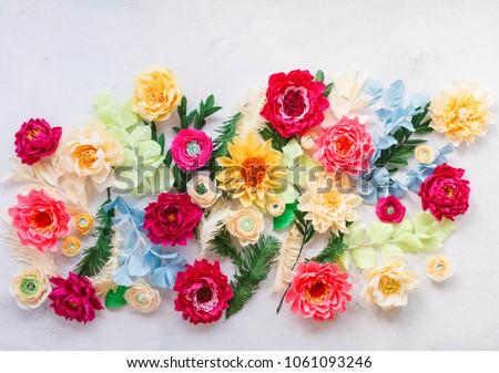 Craft paper flowers crepe paper floral stock photo edit now craft paper flowers crepe paper floral design elements colorful peonies dahlia ranunculus mightylinksfo