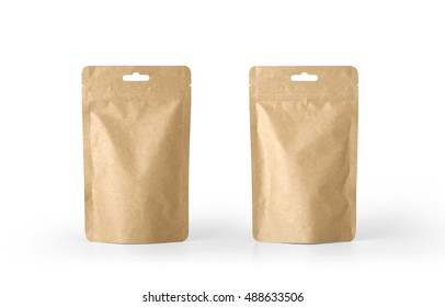 Craft paper pouch bag front and back view isolated on white background. Packaging template mockup collection. With clipping Path included.