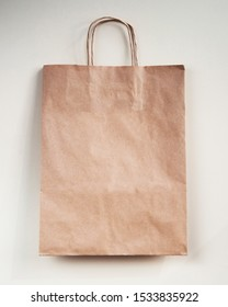 Craft paper shopping bag. Mockup for design, logo, brang identity.