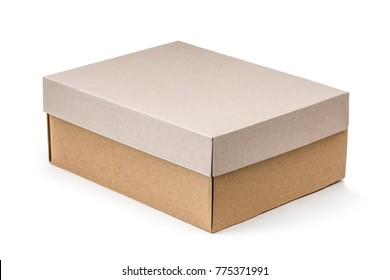 Craft shoe box container isolated on white background.
