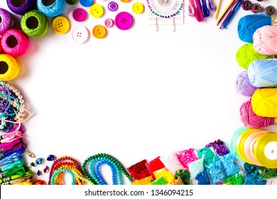 Craft supplies for DIY, top view frame isolated on white