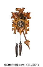 Crafted wooden made cuckoo clock with birdie out of house at 2 O'Clock position with arm in swing motion on white background