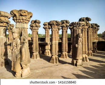 Crafting on pillars of Indian temple.