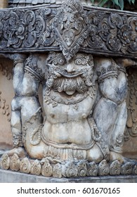 crafts cement figure statue of giant monster decorate on stairway of an old buddhism THAILAND temple in CHIANG RAI province