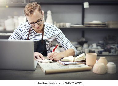Craftsman Browsing Laptop Connection Technology Concept