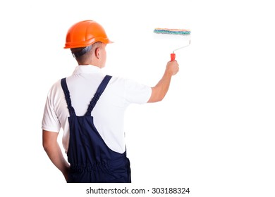 Craftsman painter  with roller, full portrait over white background