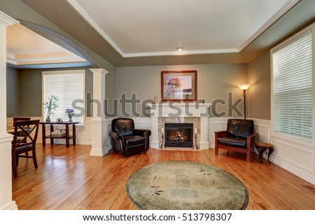 Craftsman Style Living Room Interior Design With Fireplace. Arched Entry To  The Dining Room .
