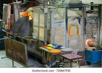 Craftsmanship of glass. Glass furnace view,Murano Venice,Italy.