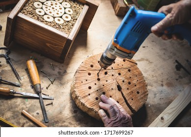 Craftsperson making wooden insect house. Carpenter using drill in workshop. Manual worker doing decorative insect hotel - Shutterstock ID 1717699267