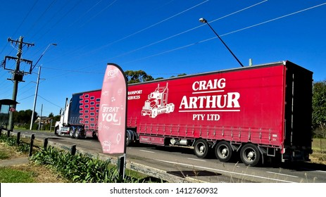 Craig Arthur Pty Ltd Sign on the side of a very large truck, Badgerys Creek Road, Badgerys Creek, New South Wales, Australia on 31 May 2019.