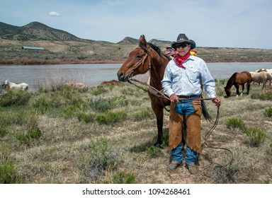 Craig, CO, USA May 5, 2018: Cowboy wrangler standing with is bay horse on trail drive