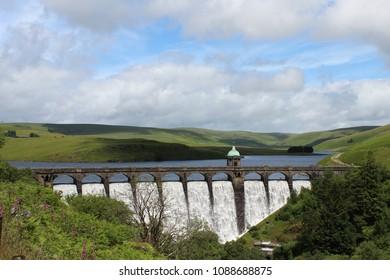 Craig Goch dam overflowing in Elan Valley, Wales, U.K.