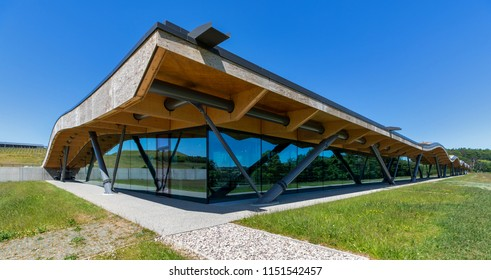 CRAIGELLACHIE, MORAY, SCOTLAND - 7 JUNE 2018: This shows the architecture of the new Macallan Distillery at Craigellachie, Moray, Scotland on a very sunny 7 June 2018.
