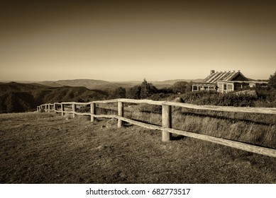Craigs Hut, built as the the set for Man from Snowy River movie in the Victorian Alps, Australia.  Vintage black and white processed.