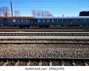Crailsheim, Germany - February 16, 2019: DB Train and Train Track at Platform with no passengers waiting.