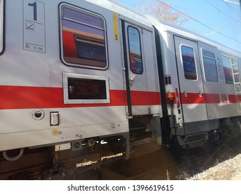 Crailsheim, Germany - February 16, 2019: A part of DB train arrival at Crailsheim station.