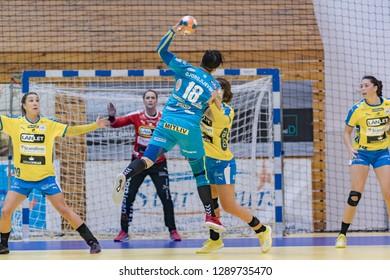 Craiova, Romania - January 05,2019: The handball player GJEORGJIEVSKA Elena during the game between SCM Craiova and Nykobing Falster Handbaold at Women's EHF Cup -  Group Phase.