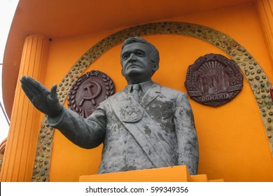 Craiova, Romania, November 8, 2009: A statue of the former Romanian dictator Nicolae Ceausescu is seen in the Museum of the Romanian Socialist Republic in Craiova.