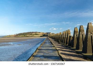 Cramond Island in Scotland, UK. A popular tourist destination with stunning views.