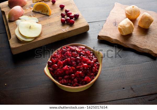 Cranberries. Cranberry chutney, fresh organic cranberries cooked with sweet spices, sugar and oranges. Classic traditional Thanksgiving diner side dish.
