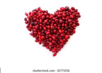 cranberries in heart shape