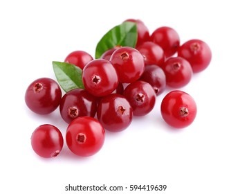Cranberries with leafs close up on white backgrounds.