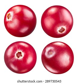 cranberries set isolated on white Clipping Path