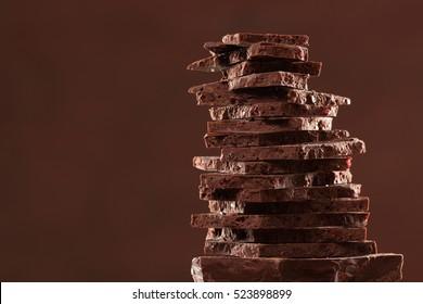Cranberry chocolate bar pieces tower