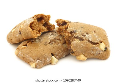 cranberry and chocolate cookies and two pieces, on a white background