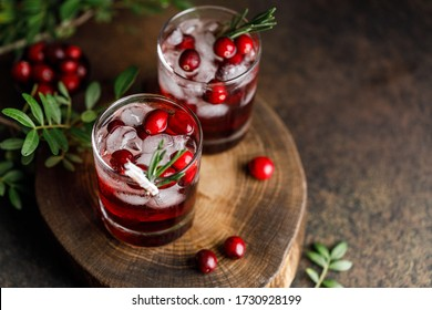 Cranberry cocktail with ice. Summer cocktail