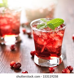 cranberry cocktail shot with selective focus
